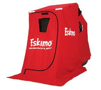 Eskimo QuickFlip 1 Person Portable Flip Up Ice Fishing Shelter w/ Tripod Chair