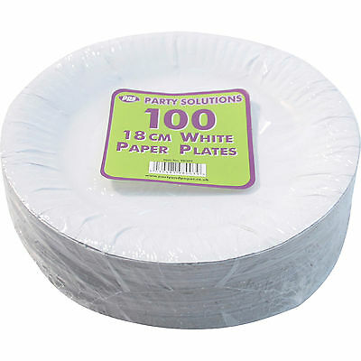 """100 x WHITE PAPER PLATES DISPOSABLE 18CM 7"""" TABLEWARE PARTY CATERING FOOD ROUND"""