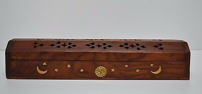 """NEW COFFIN BOX  incense burner for sticks and cones12"""" wood Hand carved"""