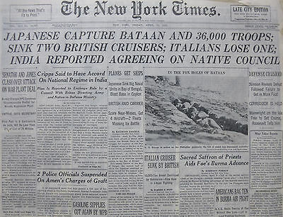 JAPANESE CAPTURE BATAAN 4-1942 WWII April 10 INDIA AGREE COUNCIL BURMA NY TIMES