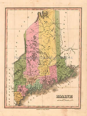 Maine Antique Map Anthony Finley 1824 Original