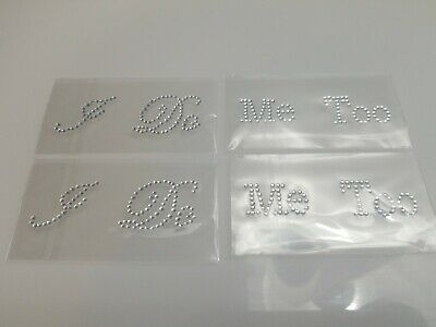 Set of I DO and ME TOO Crystal Rhinestone Shoe Decorations Decal Stickers