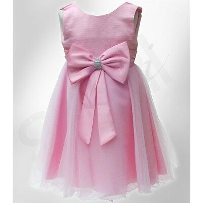 New Girls Occasion Pink-Gold Party Shimmer Dress With Diamante Bow 4-12 Years