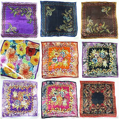 "5pcs wholesale lot 39"" large satin square scarves in vintage boho designs"
