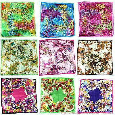 "lot of 5 large satin square scarf 39""  wholesale shawl wrap cherry blossom"