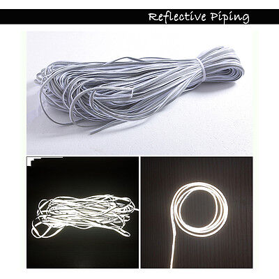Silver Reflective Piping Fabric Strip Edging Braid Trim Sew On 5m Bike Safety