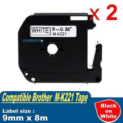 2x Compatible Brother P-touch Labels M-K221 WHITE Tape PT80 9mm x 8m