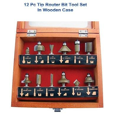 12Pc Wood Work Cutting Carving Design 1/4'' Shank Carbide TCT Tip Router Bit Set