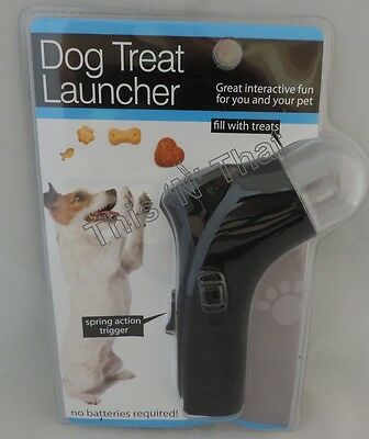 NEW Dog Treat Snack Launcher Pet Cat Interactive Fun Shooter Training Black Toy
