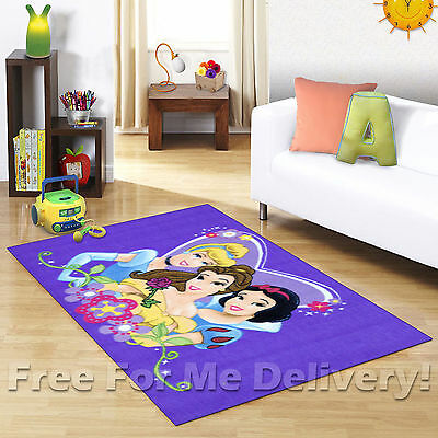 KIDS EXPRESS DISNEY PRINCESS PURPLE FLOOR RUG (XS) 100x150cm **FREE DELIVERY**