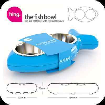 Hing FBB07 Fish Shaped Cat Bowl Rubber and Metal Design Easy Clean - Blue - New