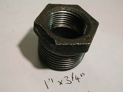 "1"" x 3/4"" BSP Black Malleable Iron Hex Bush 