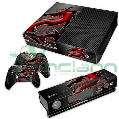 Cover skin sticker adesivo console RED DRAGON per Xbox One pellicola decal