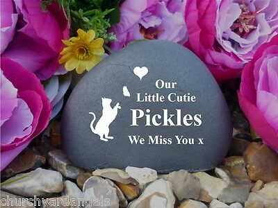Cat Memorial Pebble (Stone effect) -Chasing Butterfly,Personalised, Weatherproof