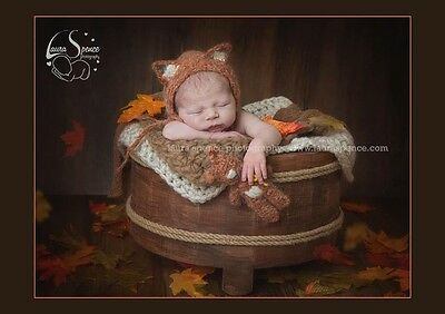 Fluffy Fox Bonnet hat And Matching Fox Teddy. Photography Photo prop. Newborn.