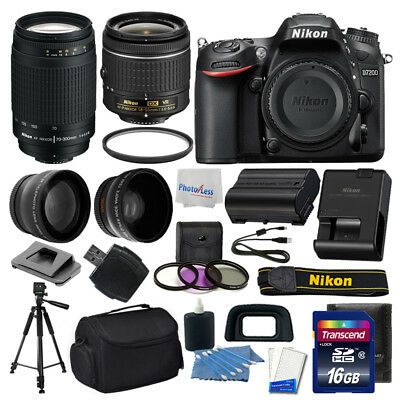 Nikon D7200 Digital SLR Camera + 4 Lens Kit: 18-55mm VR + 70-300mm + 16GB Bundle