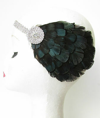 Silver Navy Blue Black Amherst Feather Headpiece 1920s Flapper Headband Vtg T71