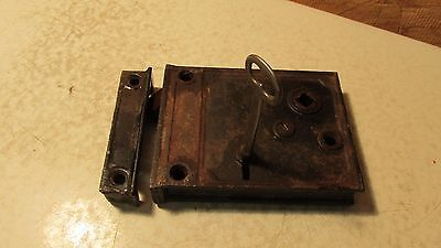 Antique Cast Iron Rim Lock & Key No. 5