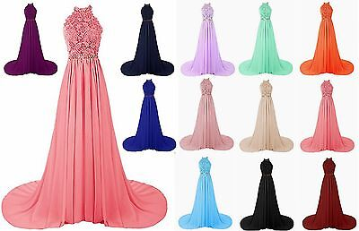 Halter Lace Prom Dress Bridesmaid Formal Gown Ball Party Cocktail Evening Stock