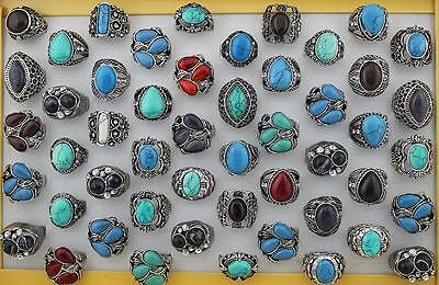 Wholesale 20Pcs Mixed Gemstone Silver P Turquoise Finger Rings For Women Lady