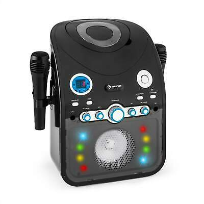 AUNA KARAOKE SYSTEM PARTY MUSIK ANLAGE KINDER CD BLUETOOTH LED 2x MIKRO SCHWARZ