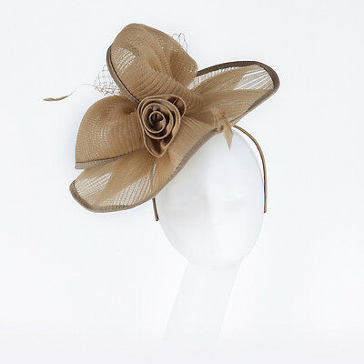 Janeo Headwear Fascinator Hat, Wide Brim Pleated Style & Roses, Special Occasion