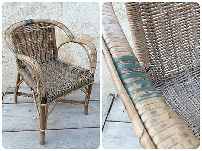 Vintage Antique 1930/30s French wicker child chair