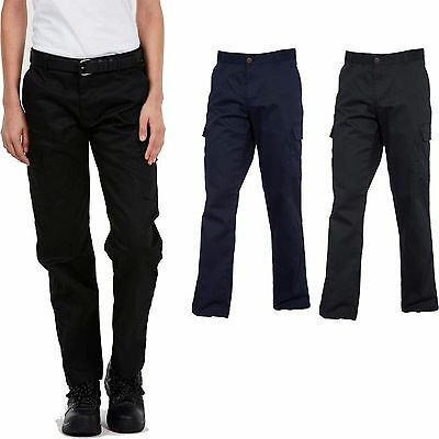 Ladies Womens Cargo Combat Work Wear Trousers Pants Black or Navy Size 8 - 20