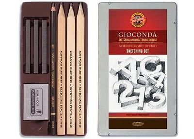Koh-I-Noor Gioconda Sketching Drawing Toning Smudge Pencil Set In Metal Tin