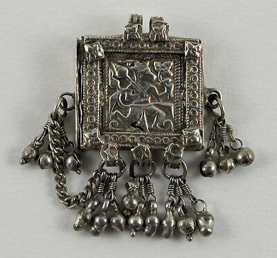Hanuman Pendant with Hidden Compartment/ Antique Silver from India