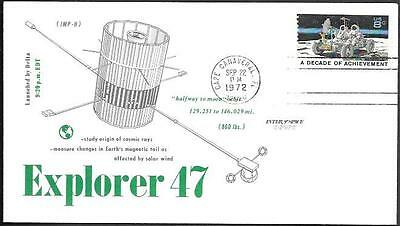 """US Space Cover 1972. Satellite """"Explorer 47"""" Launch. Cosmic Rays. Solar Wind"""