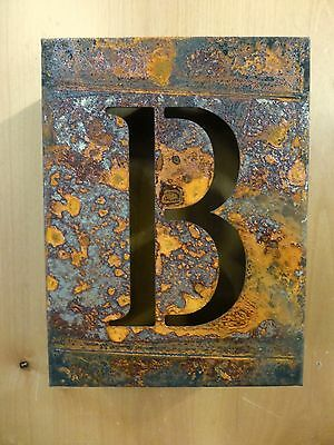 "8"" RUSTY RUSTED INDUSTRIAL METAL BLOCK CUT SIGN LETTER B vintage marquee wall"