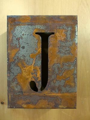"8"" RUSTY RUSTED INDUSTRIAL METAL BLOCK CUT SIGN LETTER J vintage marquee wall"