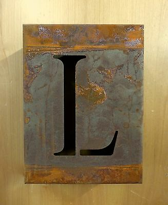 "8"" RUSTY RUSTED INDUSTRIAL METAL BLOCK CUT SIGN LETTER L vintage marquee wall"