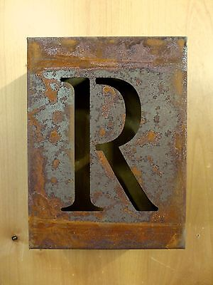 """8"""" RUSTY RUSTED INDUSTRIAL METAL BLOCK CUT SIGN LETTER R vintage marquee wall"""