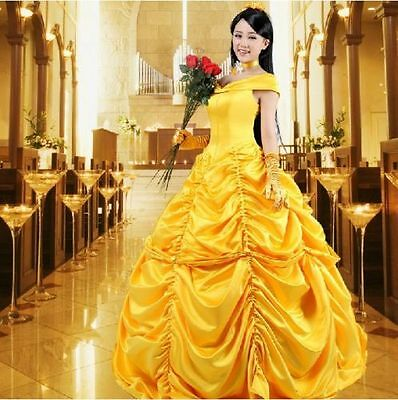 Adult Princess Belle Costume Beauty and The Beast Fancy Dress US Ship