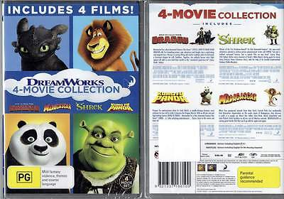 Dreamworks 4-Movie Collection Shrek Madagascar Kung Fu Panda How To Train Dragon