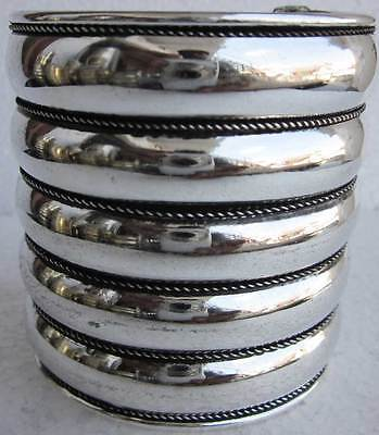 Vintage Silver Brass CUFF Handmade Layered Gypsy Boho Goth Punk Fashion Jewelry