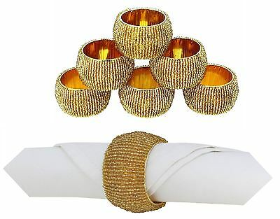 6 Gold Beaded Napkin Rings Holder Table Party Decoration Serviette Wedding Xmas