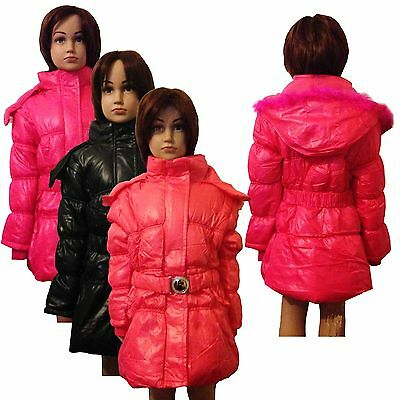 New Girls WARM Winter Jacket Padded Belted Coat Faux Fur Hood 3-14years #53