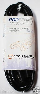 Accu Cable 15 ft. 5 pin PRO DMX Cable AC5PDMX15PRO  dj lighting