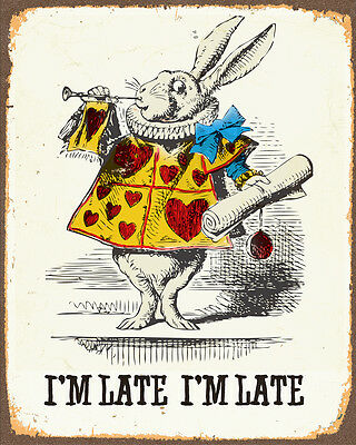 Alice In Wonderland im Late Rabbit METAL TIN SIGN WALL PLAQUE