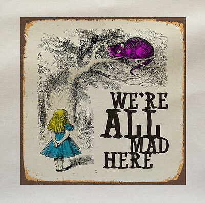 Alice In Wonderland we're all mad Here Fabric Panel Cushion Upholstery Craft