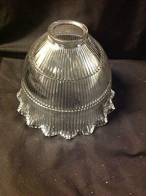 Holophane Signed Large Prismatic Ruffle Edge Glass Shade Rare Tier Pattern Old