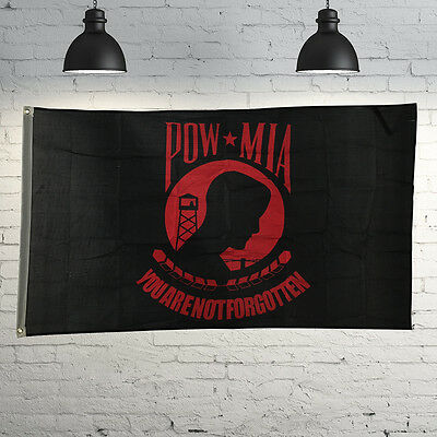 Flag 3'x5' Ft POW MIA You Are Not Forgotten Red Polyester Brass Grommets Outdoor