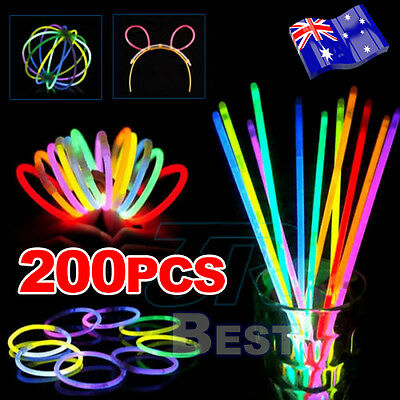 200pcs Mixed Color Glow Sticks Bracelets Light Party Glowsticks Glow In The Dark
