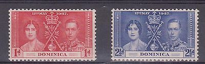 (JS-88) 1937 Dominica mix of 2 coronation MH