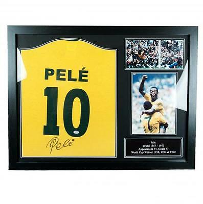 Pele - Framed Signed Replica Brazil Shirt