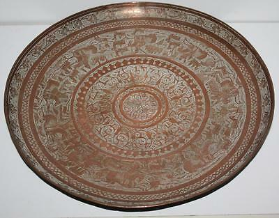 Antique Large Fine Islamic Engraved Tinned Copper Charger Plate [PL1526]