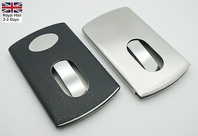 Smart Thumb Slide Stainless Steel Portable Name Business Credit Card Holder Case